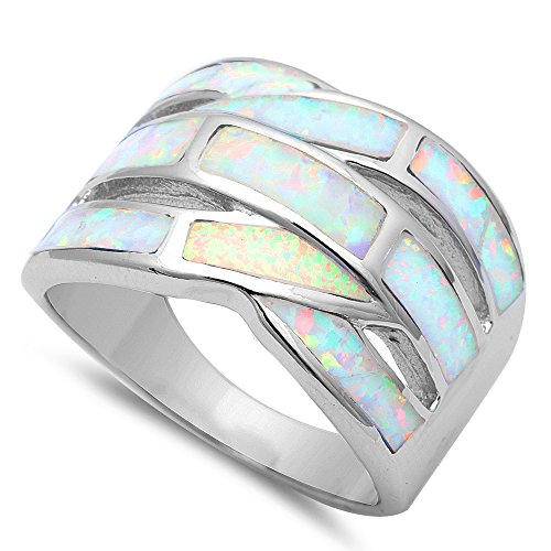 Best Seller New Fashion Lab Created White Opal Band .925 Sterling Silver Ring Sizes 6-11 (10)