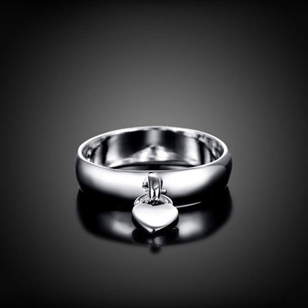 super1798 Fashion Silver Plated Heart Lock Engagement Promise Ring Charming Luxury Gift - 7 by super1798 (Image #5)