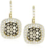 "KC Designs""Tres Chic"" Champagne and White Diamond 14k Yellow Gold Earrings"