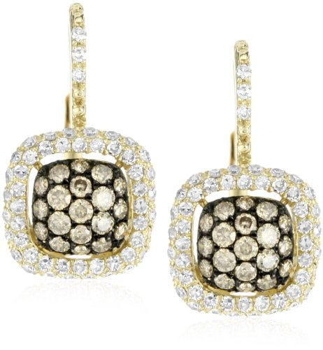 "KC Designs ""Tres Chic"" Champagne and White Diamond 14k Yellow Gold Earrings"