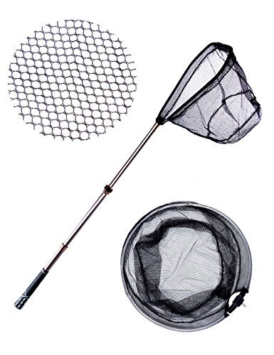 """Lureshine Collapsible Carbon Fiber Fishing Landing Net Lightweight Fish Net with Extending Telescoping Pole Handle and 2 Alternative Folding Aluminum Hoops Safe Trout Catch or Release (34""""-59"""")"""