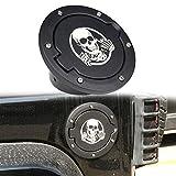 Athiry 1 PC Black Gas tank/Fuel Filler/Fuel Tanks Cover/Fuel Door with logo protect sand for Jeep Wrangler JK/JKU 2D/4D 2007-2017