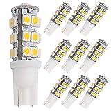travel trailer led bulb - GRV T10 Wedge 921 194 25-3528 SMD LED Bulb lamp Super Bright Warm White DC 12V Pack of 10