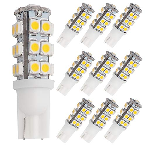 GRV T10 Wedge 921 194 25-3528 SMD LED Bulb lamp Super Bright Warm White DC 12V Pack of 10