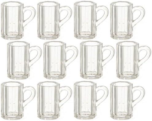 Melody Jane Dolls House Miniature Pub Accessory Set 12 Beer Mugs Pint Glasses 0293
