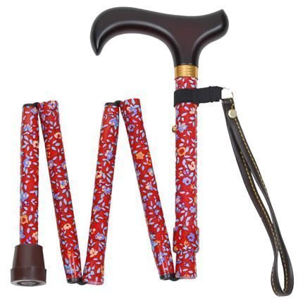 Red Floral Handbag Folding Walking Stick by Charles Buyers