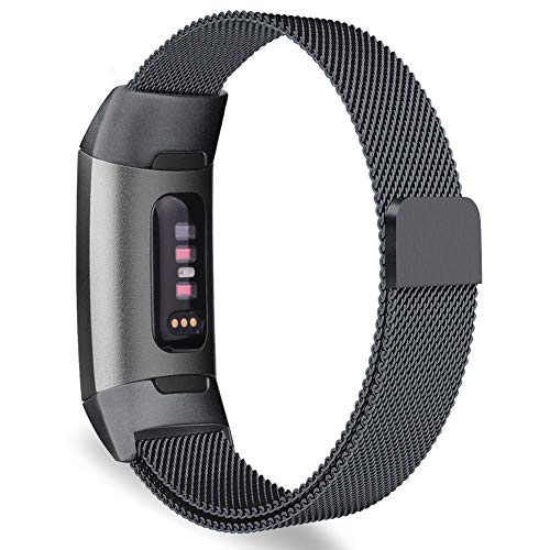 Oitom Metal Bands Compatible Fitbit Charge 3 Band Women Men Large,Magnetic Stainless Steel Milanese Loop Replacement Band Wrist Accessories Straps(Large 6.7-9.3,Space Grey)
