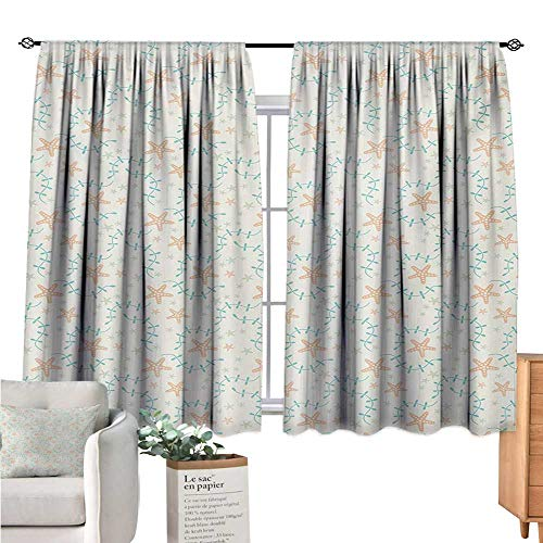 Warm Family Starfish Kids Curtain Marine Motifs with Seaweed and Starfish Silhouettes on Beige Background Salmon Blue Beige Doorway Curtain W55 x L39