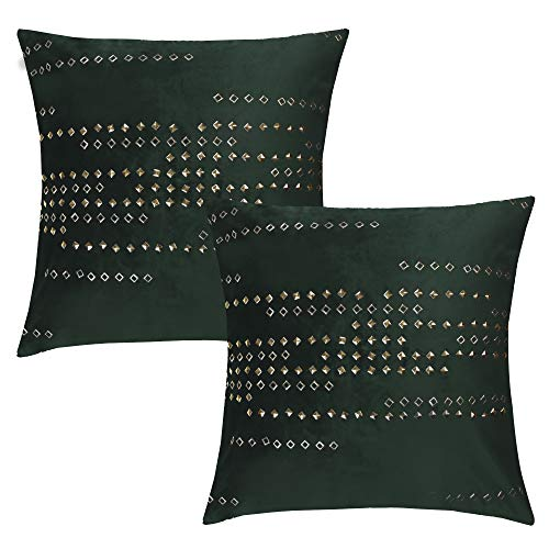 SUO AI TEXTILE Set of 2 Throw Pillow Covers Cushion Cases Decorative Square Pillow Case Slipover Pillow Slip for Home Sofa Couch Chair Seat Bedroom Car, Invisible Zipper, 18 x 18 Inch Metallic Green ()