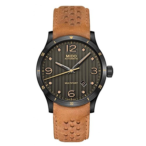 Mido Multifort Gent M025.407.36.061.10 Grey / Brown Leather Analog Automatic Men's Watch