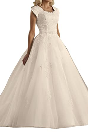 MILANO BRIDE Modest Jewel Ball Gown Short Sleeves Church Hall ...