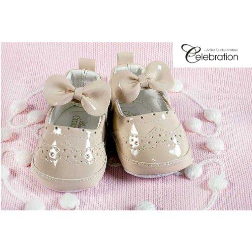 Festliche Babyschuhe Ballerinas beige Lack Taufschuhe Gr. 18 Modell 4693