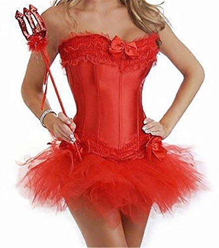 Yall Vestido atractivo del corsé de tocar fondo femenino Red