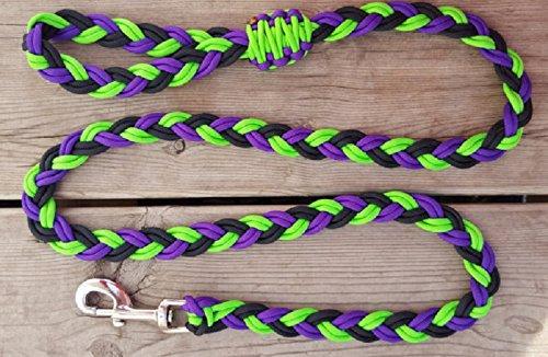6 Strand Flat Braid Paracord Dog Leash - Black/Purple/Neon