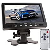 SallyBest® 7 Inch TFT LCD Color Screen 16:9 HD 800 x 480 Car Rear View Monitor DVD VCD VCR Headrest Monitor with 2 Video Input & Remote Control Support HDMI + VGA Interface