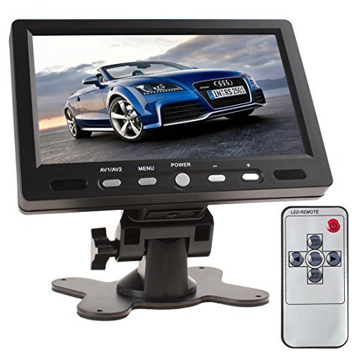 SallyBest® 7 Inch TFT LCD Color Screen 16:9 HD 800 x 480 Car Rear View Monitor DVD VCD VCR Headrest Monitor with 2 Video Input & Remote Control Support HDMI + VGA Interface by SallyBest®