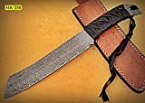 Poshland REG-HK-250, Handmade 13.00 Inches Full Tang Damascus Steel Bowie Knife – Beautiful Grip of Black Leather