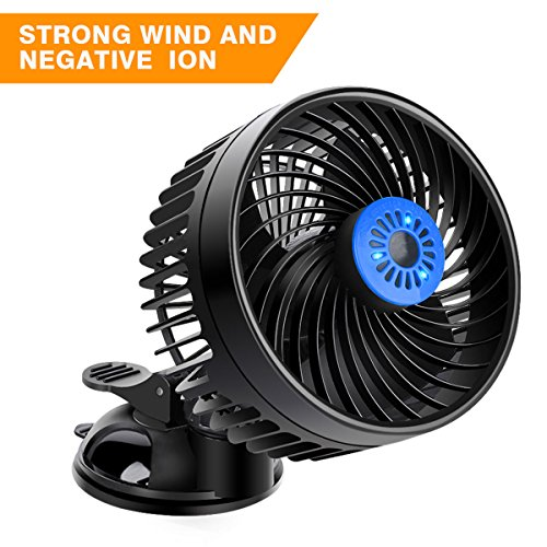 Car Air Fan Cooling Air Fan 12 Volt Fan Powerful Adjustable Speed Car Fans Electric Rotatable Windshield Cooling Fans with Suction Cup Summer wind Fan Air Circulator for Van SUV RV Boat Auto 6.5