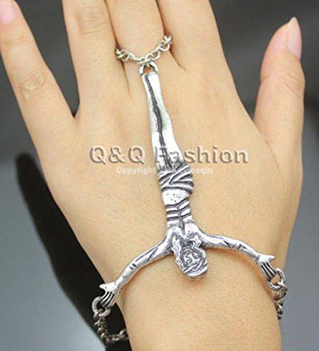 Catholic Vintage Silver Jesus Christ Cross Harness Ring Punk Goth Skeleton Skull Slave Bones Talon Hand Bracelet Gaga Style Chain - Style Gaga