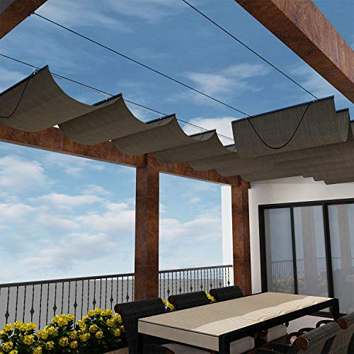 Windscreen4less Retractable Shade Canopy Replacement Cover for Pergola Frame Slide on Wire Cable Wave Drop Shade Cover Shade Sail Awning for Patio Deck Yard Porch Brown 4