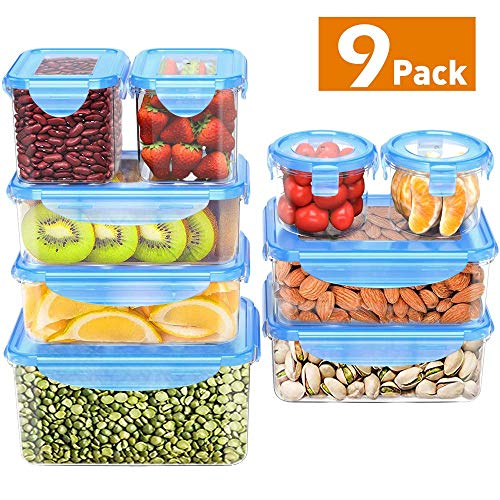 Food Storage Containers with Lids, MOKALOO Plastic Meal Prep Containers with Airtight Leak Proof Lids, BPA-Free Reusable Bento Lunch Box, Food Prep Containers for Kitchen Use [9-Pack]