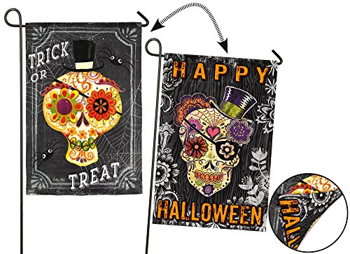 Evergreen Suede Sugar Skulls Double-Sided Garden Flag, 12.5