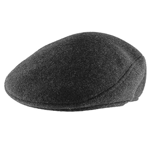 Morehats Men's Women's Unisex 100% Wool Newsboy Cap Gatsby Irish Golf Hat - Charcoal (Herringbone Flat Cap)