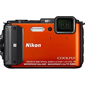 Nikon Coolpix AW130 16.0-Megapixel Waterproof Digital Camera with 5X Optical Zoom NIKKOR ED Wide-Angle Glass Lens, Built-in Wi-Fi, NFC and GPS (Orange) by Nikon