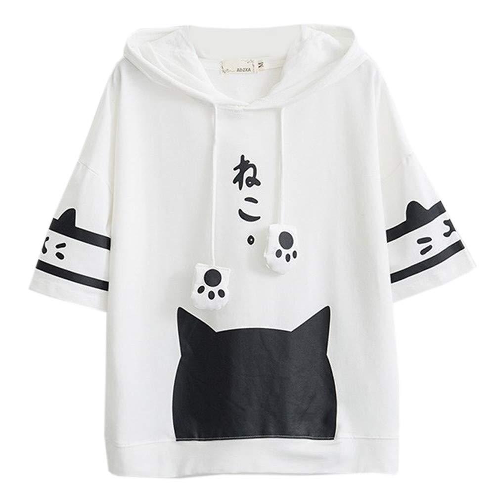 Harajuku Women White Japan Style Kawaii Cat Hooded Short Sleeve Kawaii Girls T Shirt