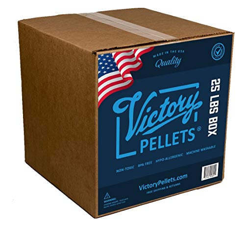 Victory Pellets (25 Pounds) Plastic Pellets for Weighted Blankets, Rock Tumbling, Reborn Dolls, Stuffed Bears, Crafts, Draft Stoppers, Game Changer Bags. Washer & Dryer Safe. Made in USA. ()
