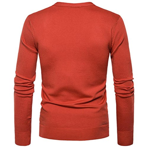 manga Otoño V Cuello Jerséis para Escudo Sweater Botón Cardigan Naranja KaloryWee para Hombre larga Knit Hombre Jerséis Invierno 6tYxnq80