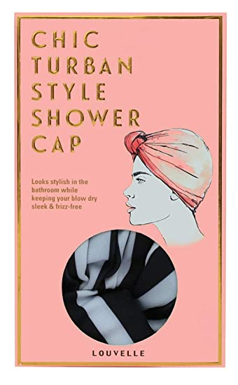e45ddfdac Amazon.com : Louvelle - Dahlia Shower Cap (Monochrome Stripe Regular ...