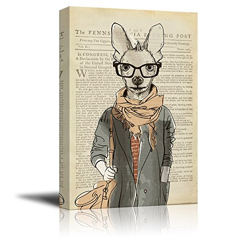 Creative Animal Figure on Vintage Paper A Kangroo Wearing Glasses