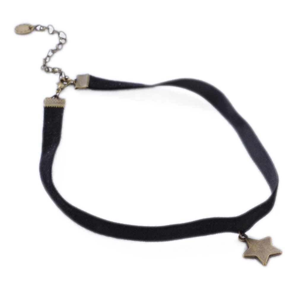 Hosaire Choker for Women Girls, Black Classic Five-pointed Star Pendant Short Necklace-BEST DECORATION for Summer Dress