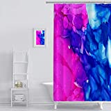 Bright Pink Shower Curtain MuaToo Shower Curtain Abstract Bright Pink with Textured Blue Colorful Background Hand Drawn with Bright Inks and Print Shower Hooks are Included 72 x 84 Inches