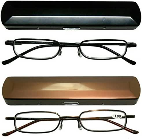Reading Glasses 2 Pair Black and Gold Readers Metal Lightweight Compact Unisex Glasses for Reading Slim Case Included