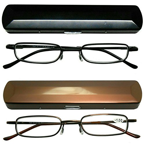 Reading Glasses 2 Pair Metal Rim with Cases Included Classic Durable Glasses for Reading for Men and Women +4.10