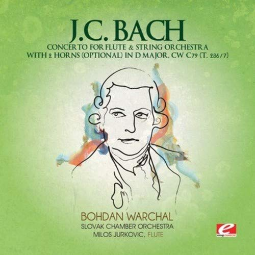 J.C. Bach: Concerto for Flute & String Orchestra with 2 Horns (optional) in D Major, CW C79 (T. 286/7) (Digitally ()
