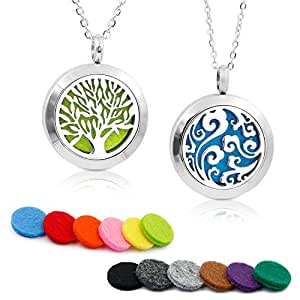 "2PCS Aromatherapy Essential Oil Diffuser Necklace TWO PATTERNS Pendant Locket Jewelry,23.6""Adjustable Chain Stainless Steel Perfume Necklace"