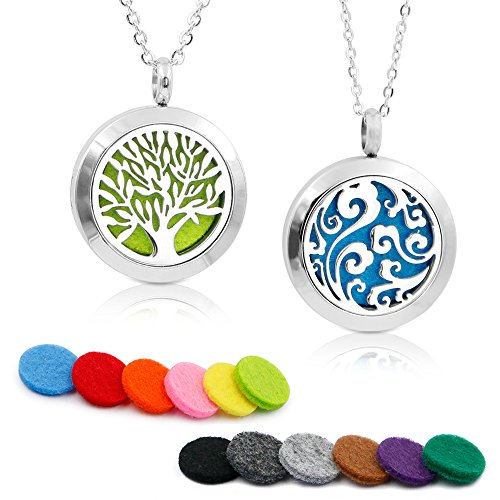 2PCS Aromatherapy Essential Oil Diffuser Necklace TWO PATTERNS Pendant Locket Jewelry,23.6