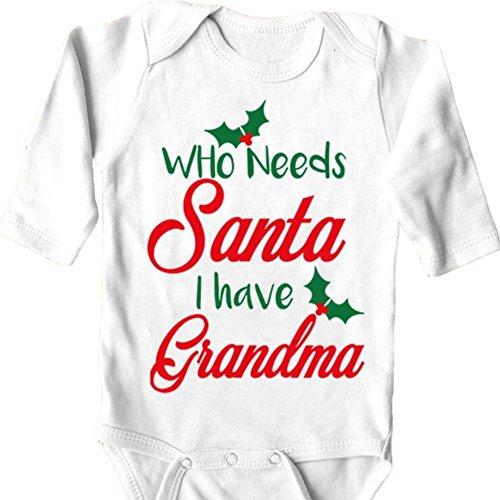 Grandma Santa - Cozy Bees Who Needs Santa I Have Grandma Adorable Baby Onesie Long Sleeve Unique Baby Gift (0-3M)