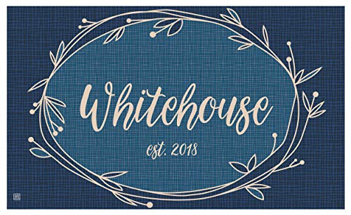 Studio M MatMates Rustic Wreath Blue Personalized Indoor Outdoor Custom Mat, Your Family Name, Non-Slip Recycled Rubber Back, Printed in USA, 18 x 30 Inches (Personalized Mat Welcome)