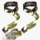 Rip Toned Lifting Wrist Straps by (Pair) - Bonus Ebook - Cotton Padded - for Weightlifting, Bodybuilding, Crossfit, Strength Training, Powerlifting, MMA (Green Camo)
