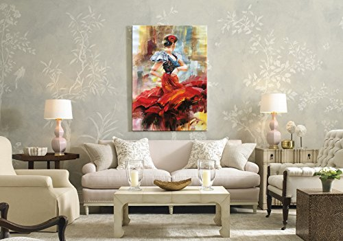 Seekland Art Hand painted Lady Dancing with Red Dress Large Abstract Canvas Wall Art Impression Oil Painting Modern Contemporary Artwork Fine Pictures Unframed (3648 inch, EFH-B101105) by Seekland Art