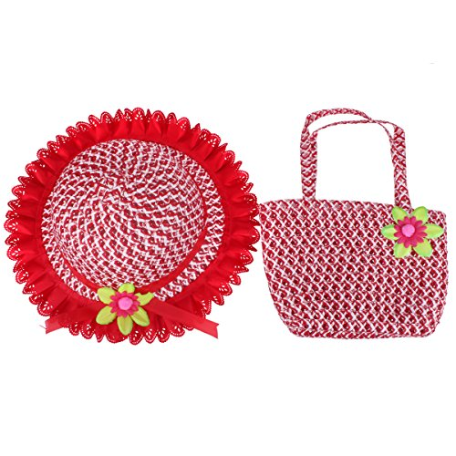 YOPINDO Baby Straw Sun Hat Summer Beach Cap with Handbag Foldable Dress up Hat Purse Set (Red)
