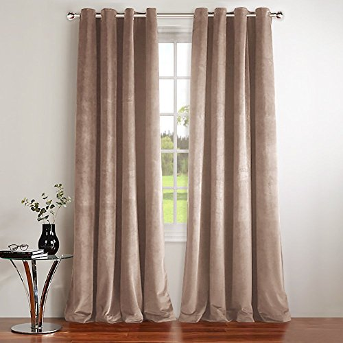 (NICETOWN Room Darkening Velvet Curtain Panels - Classic Velvet Woven Home Theater Eyelet Top Drapes (Blush Pink, 2 Pieces, W52xL96-inch))
