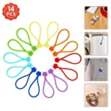 Fironst Strong Magnetic Twist Ties forBundling and Organizing,Multi-Color Magnet Cord Winder forCable Management, Hanging & Holding Stuff SiliconeCord Keeper (7 Colors-14 Pack)