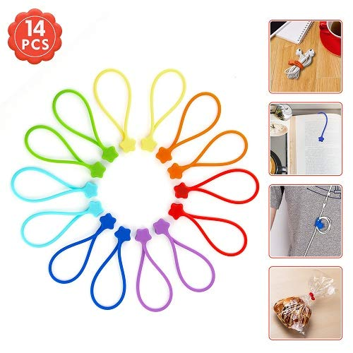 - Fironst Strong Magnetic Twist Ties for Bundling and Organizing, Multi-Color Magnet Cord Winder for Cable Management, Hanging & Holding Stuff Silicone Cord Keeper (7 Colors-14 Pack)