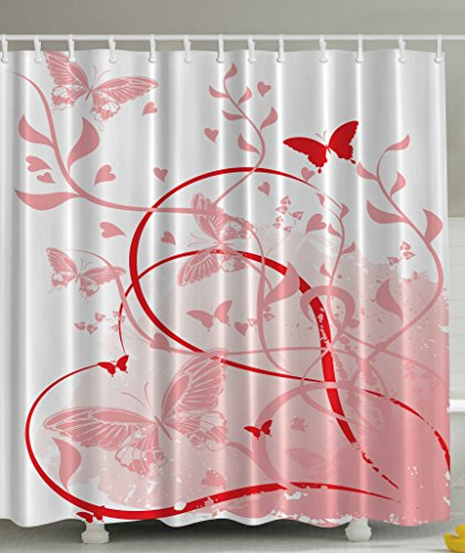 Floral Butterflies Hearts Abstract Art Paintings for Her Baby White Pink Red Rose Quartz Spring Colors Illustration Design Digital Print Polyester Fabric Shower (Painting Pink Roses)