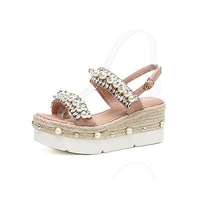 7cm Wedge Talon Sandales Sandales Chaussures Habillées Femmes Pompe Open Toe D'orsay Semelles Plate-Forme à Semelles Épaisses Perle Strass Corde Déco Casual Court Chaussures Eu Taille 34-39
